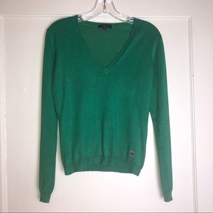Burberry silk sweater size small CLASSIC! Green
